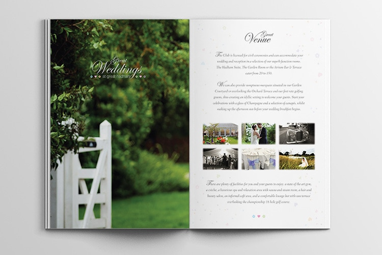 Great Weddings Brochure spreads print design for Great Hadham Country Club
