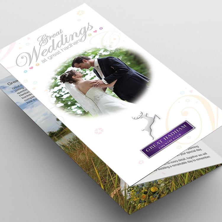 Great Weddings leaflet folded print design for Great Hadham Country Club