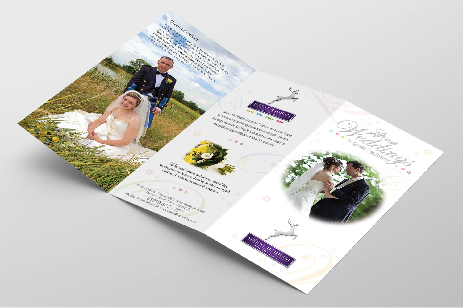 Great Weddings leaflet open spread print design for Great Hadham Country Club