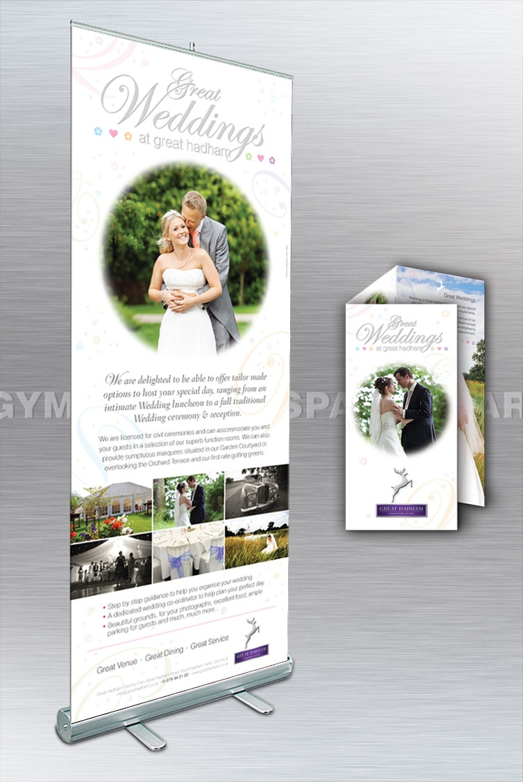 Great Weddings promotion banner and open leaflet print design for Great Hadham Country Club
