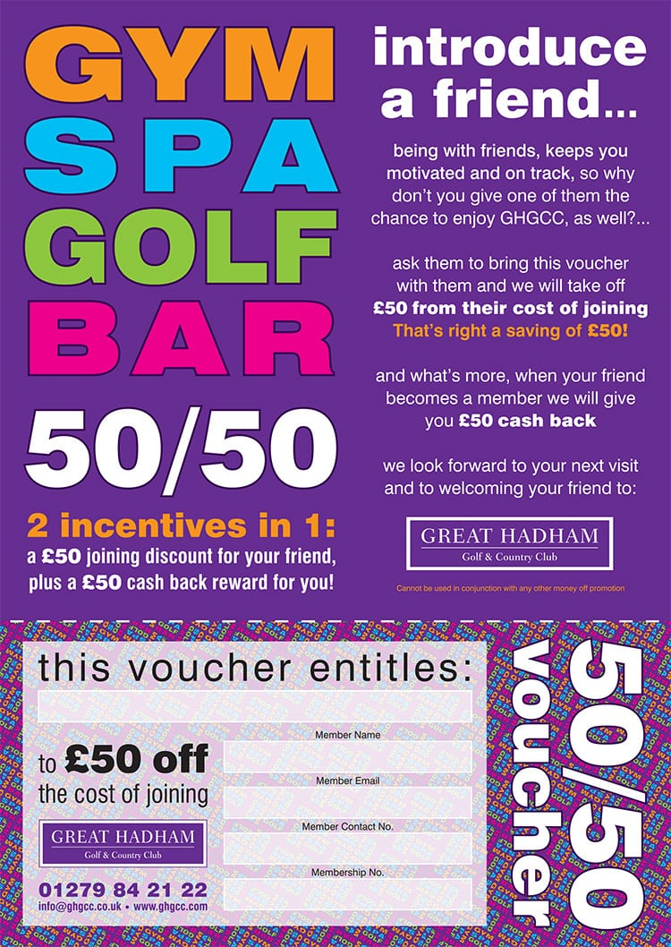 A4 50/50 introduce a friend promotional leaflet design for Great Hadham Country Club