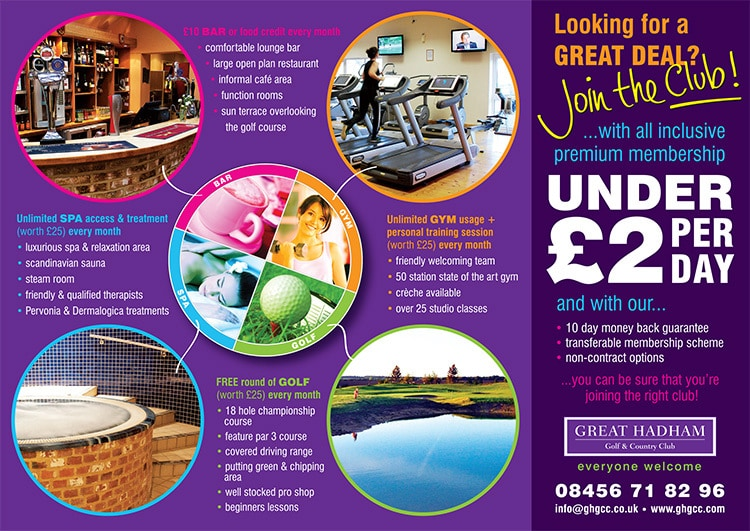 A6 sales promotional design leaflet back for Great Hadham Country Club