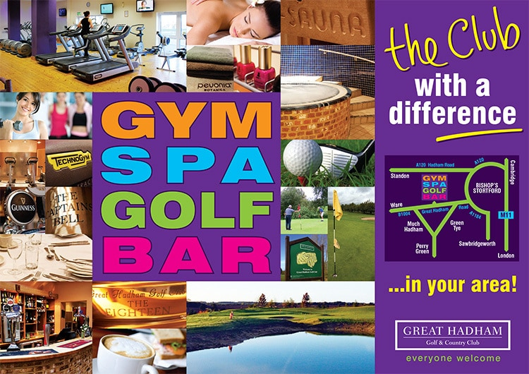 A6 sales promotional design leaflet front for Great Hadham Country Club