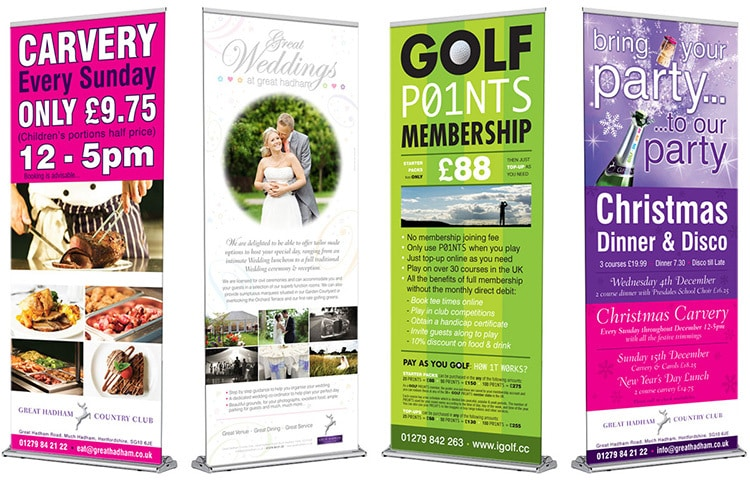 Great Hadham Country Club promtional banner design for different events