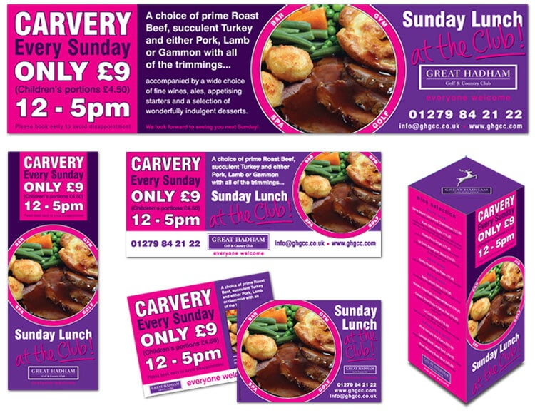 Carvery every sunday promotional design for Great Hadham Country Club