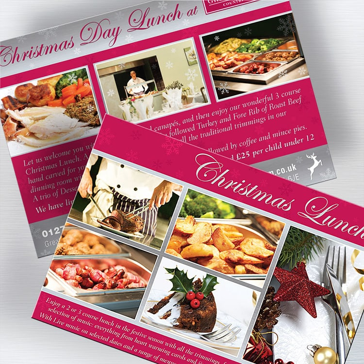 Leaflet promotional design for the Great Hadham Country Club Christmas Day Lunch