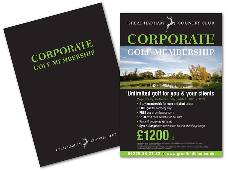 Corporate Membership promotion design for Great Hadham Country Club