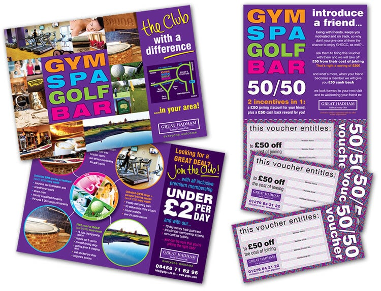 Gym, Spa, Golf and Bar promtional design for Great Hadham Country Club