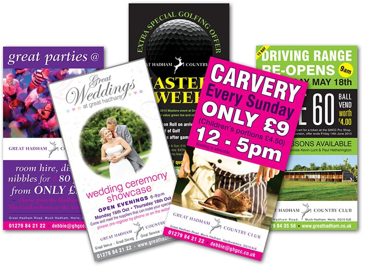 Leaflet promotion and print design for different events at Great Hadham Country Club