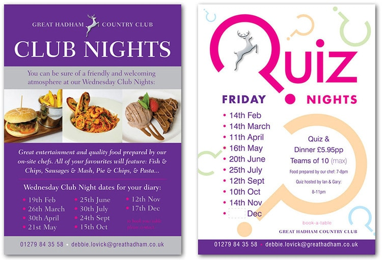 Club nights and quiz nights promotional poster design for Great Hadham Country Club