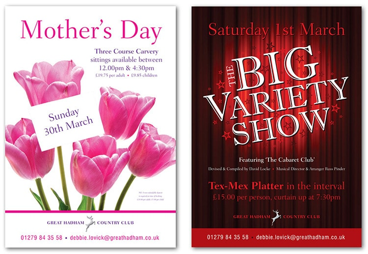 Mothers day promotional poster design flat artwork for Great Hadham Country Club