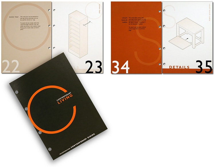 Contemporary Living brochure design showing display and merchandising equipment for furniture department in House of Fraser