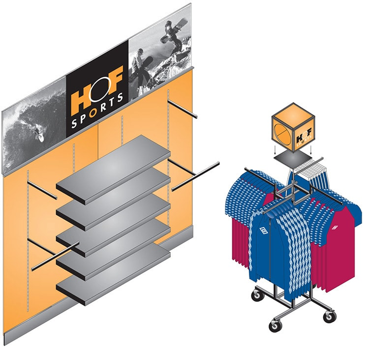 House of Fraser Sports illustration of fixtures and fittings