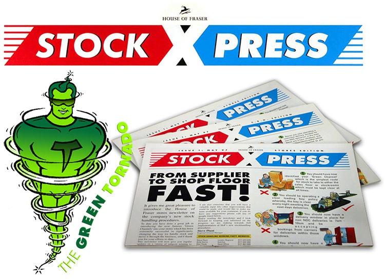 'Stock Xpress' magazine design and 'The Green Tornado' character design