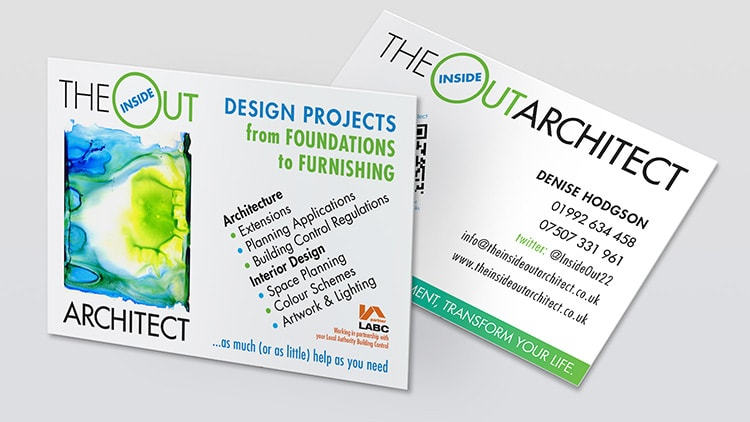 Front and back of A6 postcard design for Inside Out Architect