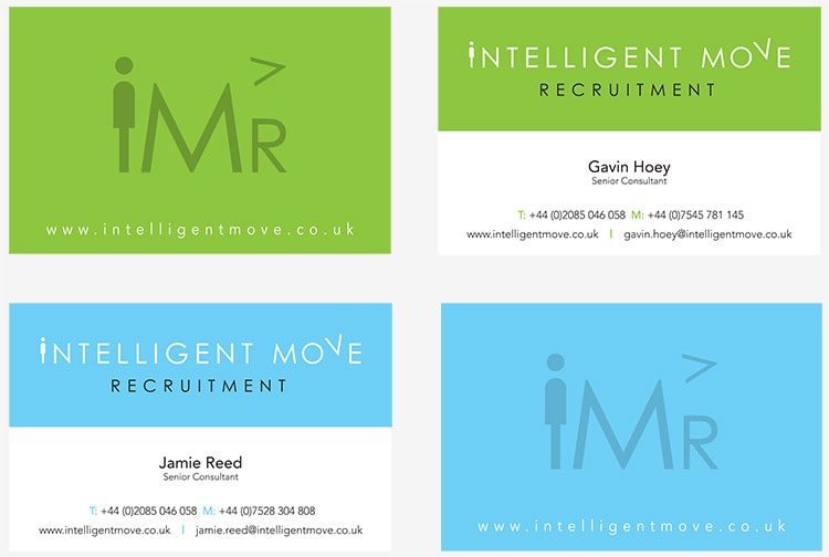 Intelligent Move Recruitment branded business cards in Green and blue variation