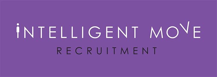 New landscape Intelligent Move Recruitment logo design with purple background