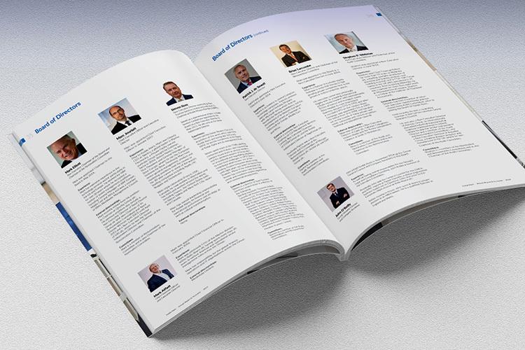 2019 Kodak perfect bound Annual Report print design spread showing the board of directors