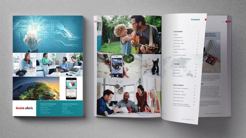 Back cover and spread design for Koadk Alaris Annual Report 2018