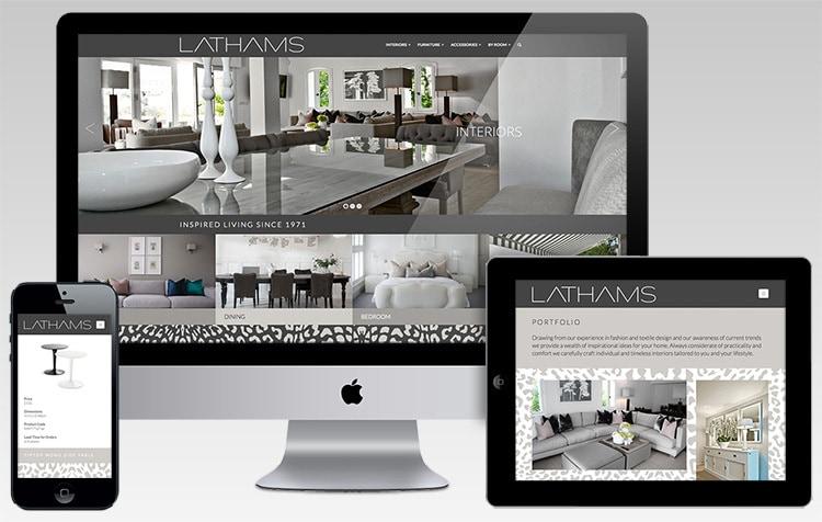 Desktop, mobile and tablet displaying Lathams responsive website design