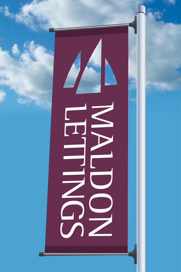 Maldon Lettings branded flag with cut out of the Maldon Lettings Symbol