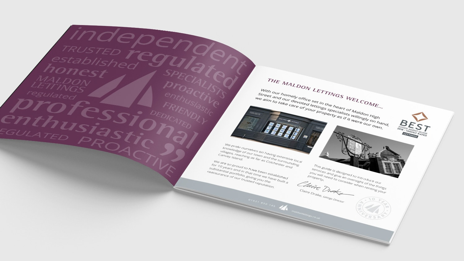 An open spread of Maldon Lettings brochure print design showing introduction page