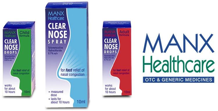 Clear nose spray carton design for Manx Healthcare