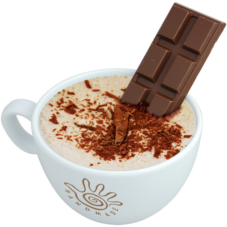 Close up of hot chocolate with chocolate shavings and chocolate bar in Marimba branded mug