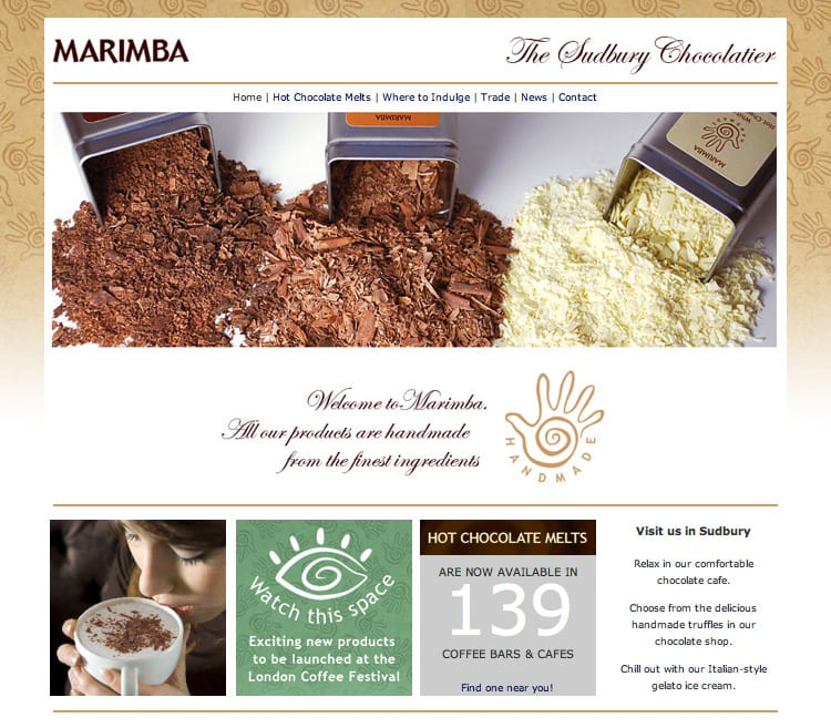 Marimba homepage of the new website with new Marimba branding elements