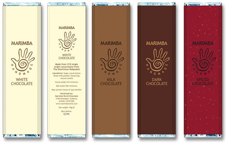 Close up of Marimba chocolate bars packaging design with new Marimba branding design
