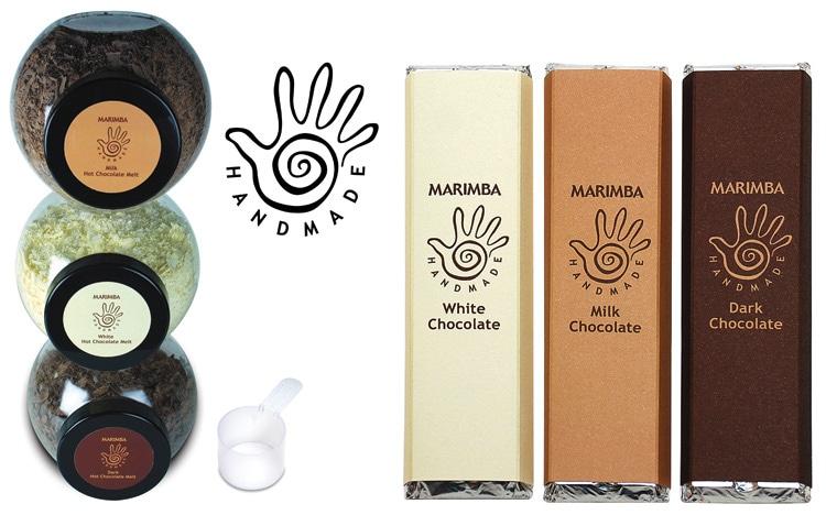 Marimba chocolate bars packaging design with new Marimba branding design and chocolate shavings in jars