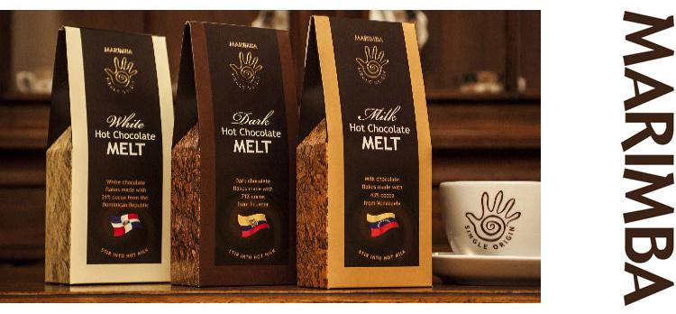The retail packaging design of the Marimba hot chocolate melt with branded marimba mug