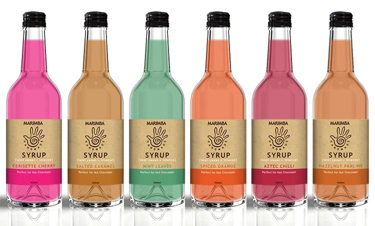 Marimba syrup bottles label design