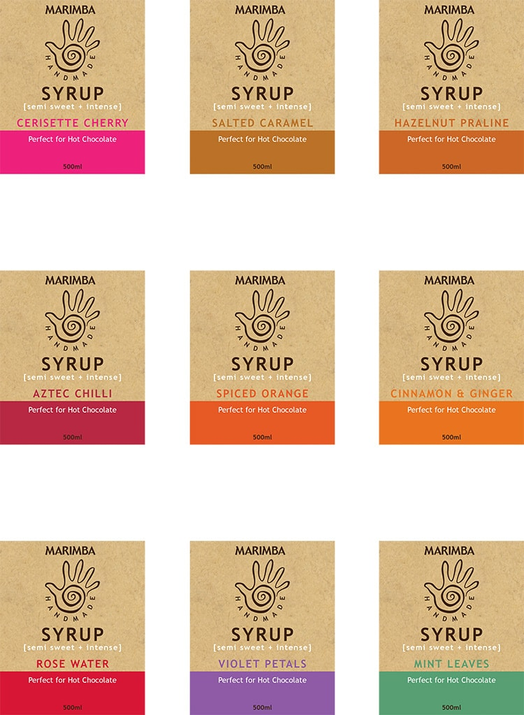 Label design different flavours for Marimba syrup bottles