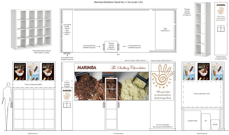 Exhibition stand front view plan for Marimba exhibition design