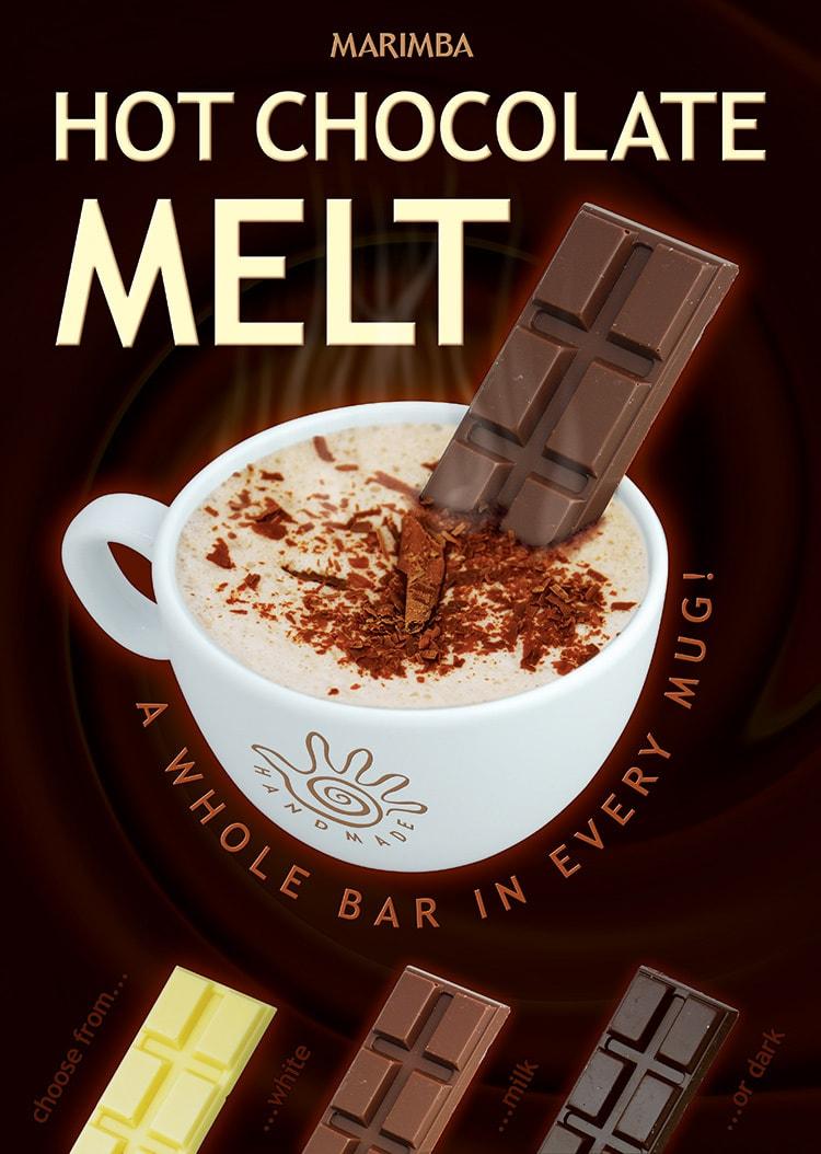Promotion Design poster for Marimba's milk Chocolate Melt