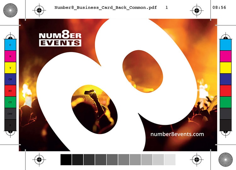 Number 8 Events back of business card artwork with bleed