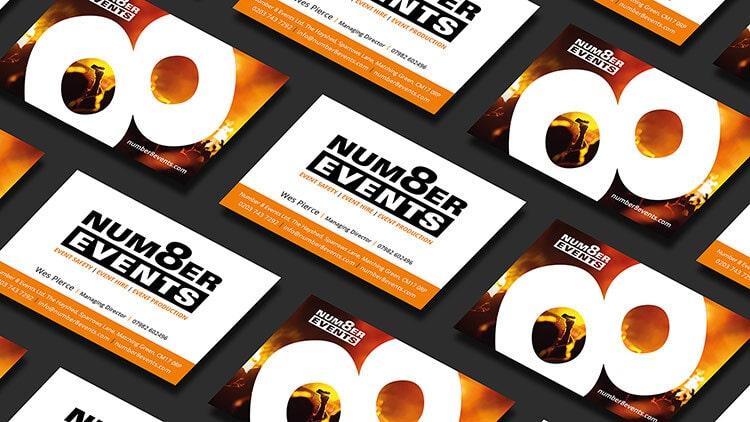Business card design for Number 8 Events
