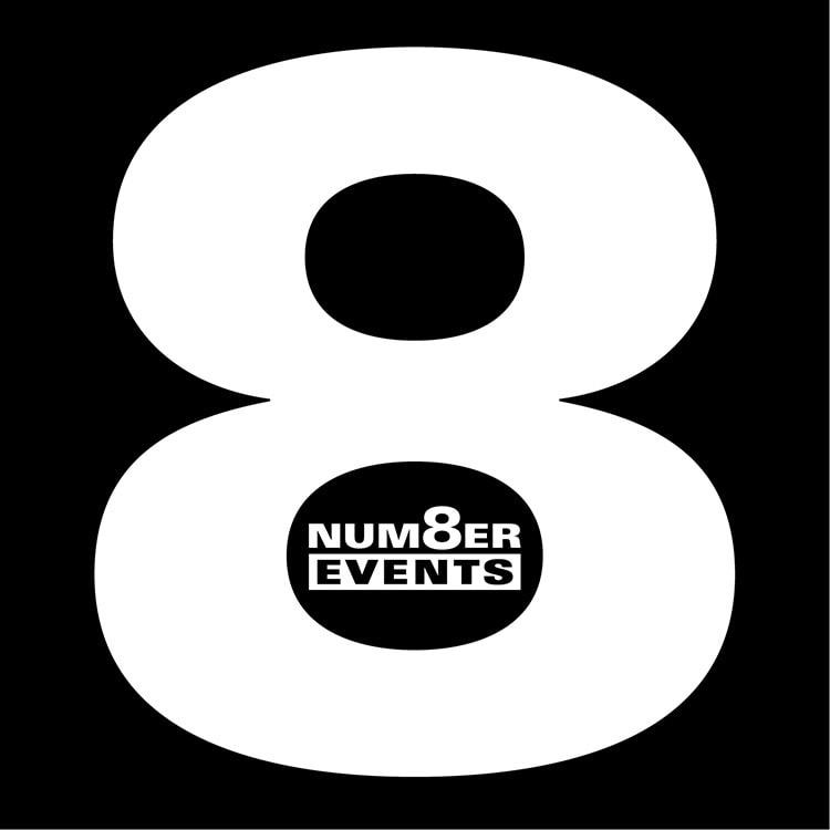 Number 8 Events logo design Number 8 Events branding inside the big 8