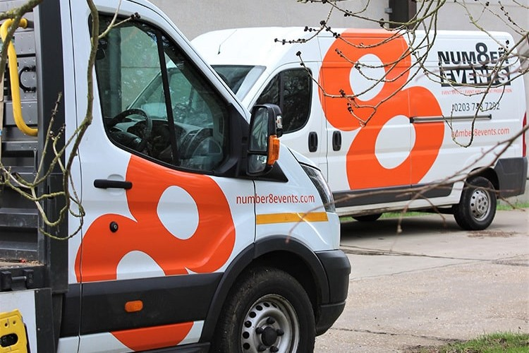 Close up of vans livery design with Number 8 Events branding