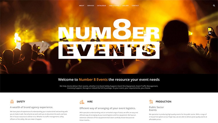 Homepage flat of Number 8 Events website design
