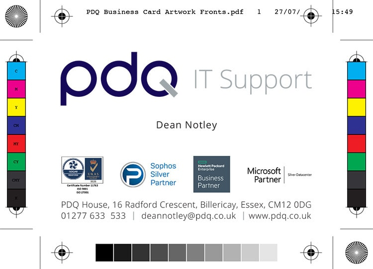 Front of PDQ business card artwork with bleed showing PDQ with strapline logo