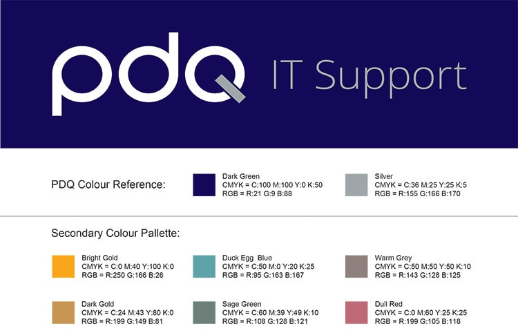 Corporate colour reference sheet for PDQ
