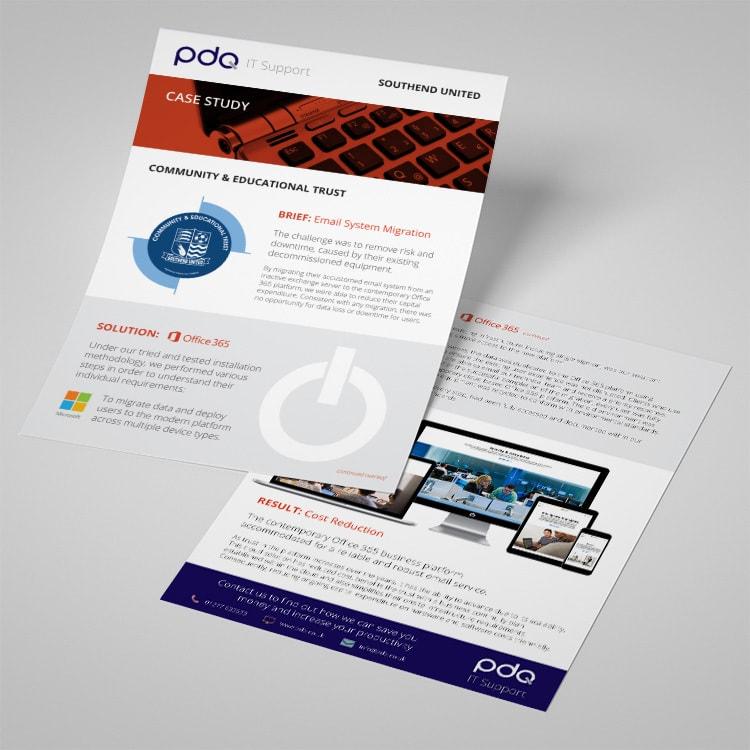 Case study leaflet print design for PDQ