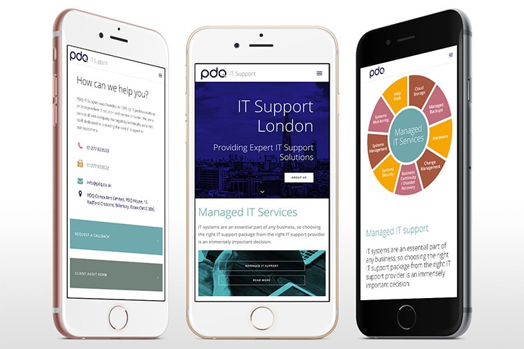 Mobile phones showing off different pages of the new PDQ responsive website design