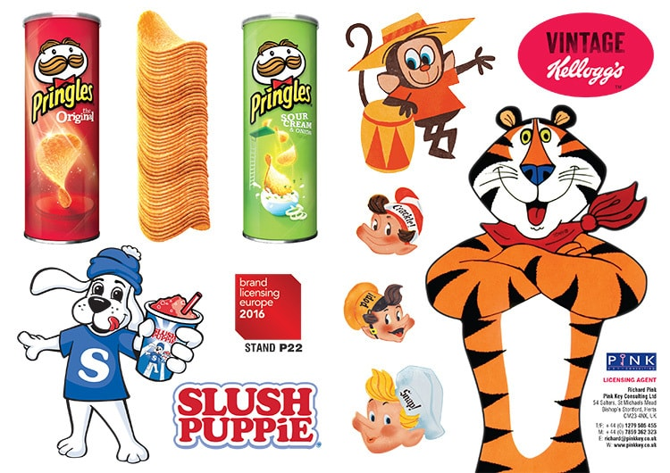 Flat artwork Pink Key promotional BLE stand advert design showing different licensed brands