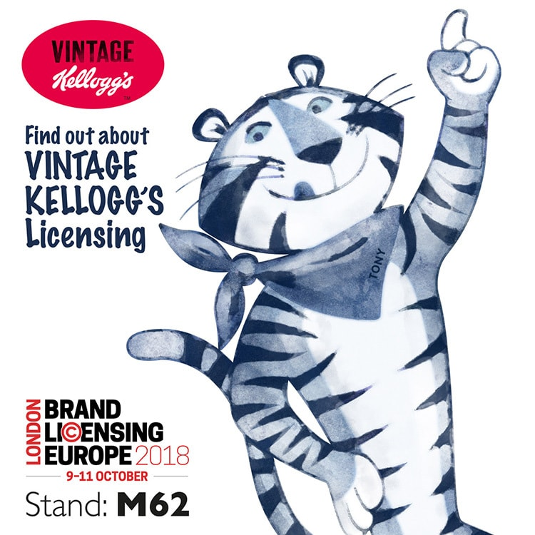 Social media design showing Vintage Tony the Tiger Kellogs character for Pink Key BLE