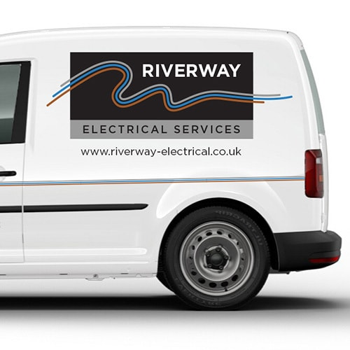 VW white van with Riverway Electrical branding design vinyl and 3 different coloured lines running across the van Thumbnail