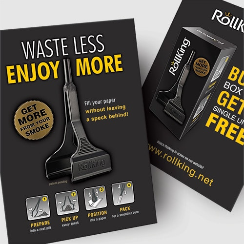 Front and back promotional poster design with UV Treatment showing new Rollking product packaging design Thumbnail