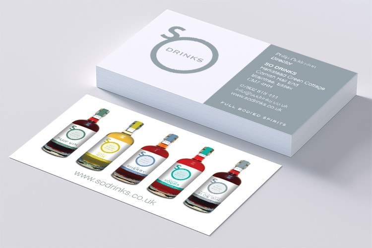 Business cards designed for So Drinks with the So drinks branded bottles shown on the back